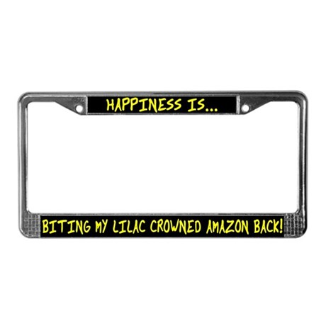 HI Biting Lilac Crowned Amazon License Plate Frame