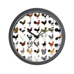 49 Roosters Wall Clock