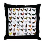 49 Roosters Throw Pillow
