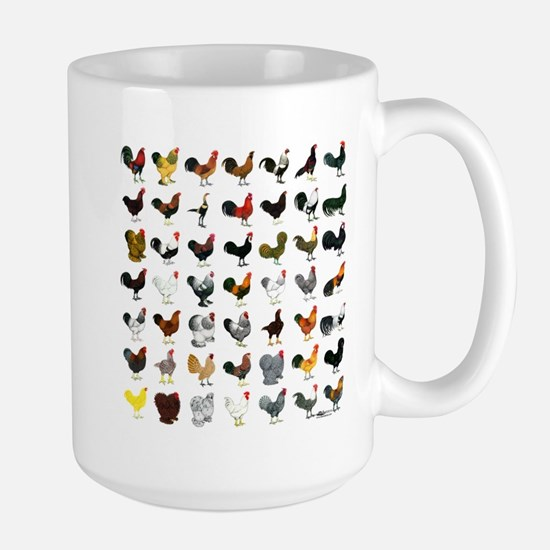 49 Roosters Large Mug