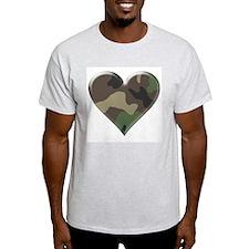 Camouflage Heart Military Love Ash Grey T-Shirt