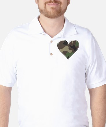 Camouflage Heart Military Love Golf Shirt