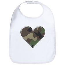Camouflage Heart Military Love Bib