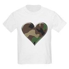 Camouflage Heart Military Love Kids T-Shirt