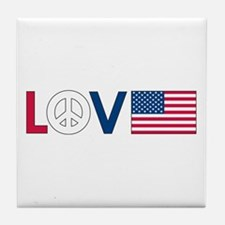 Love Peace America Tile Coaster