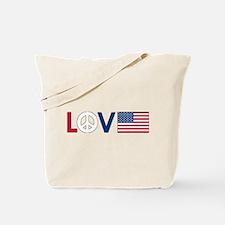 Love Peace America Tote Bag