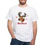 Merry Christmas Reindeer White T-Shirt