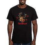 Merry Christmas Reindeer Men's Fitted T-Shirt (dar