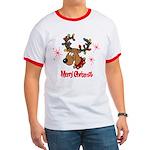 Merry Christmas Reindeer Ringer T