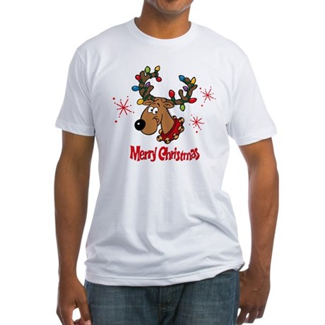 Merry Christmas Reindeer Fitted T-Shirt