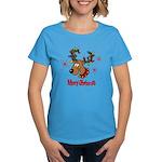 Merry Christmas Reindeer Women's Dark T-Shirt