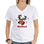 Merry Christmas Reindeer Women's V-Neck T-Shirt