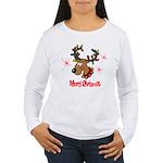 Merry Christmas Reindeer Women's Long Sleeve T-Shi