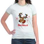 Merry Christmas Reindeer Jr. Ringer T-Shirt