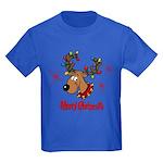 Merry Christmas Reindeer Kids Dark T-Shirt