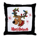 Merry Christmas Reindeer Throw Pillow