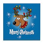 Merry Christmas Reindeer Tile Coaster