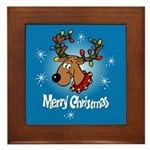 Merry Christmas Reindeer Framed Tile