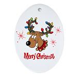 Merry Christmas Reindeer Ornament (Oval)