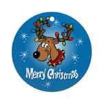 Merry Christmas Reindeer Ornament (Round)