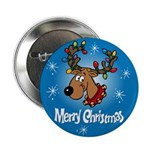 Merry Christmas Reindeer 2.25&Quot; Button (10 Pac