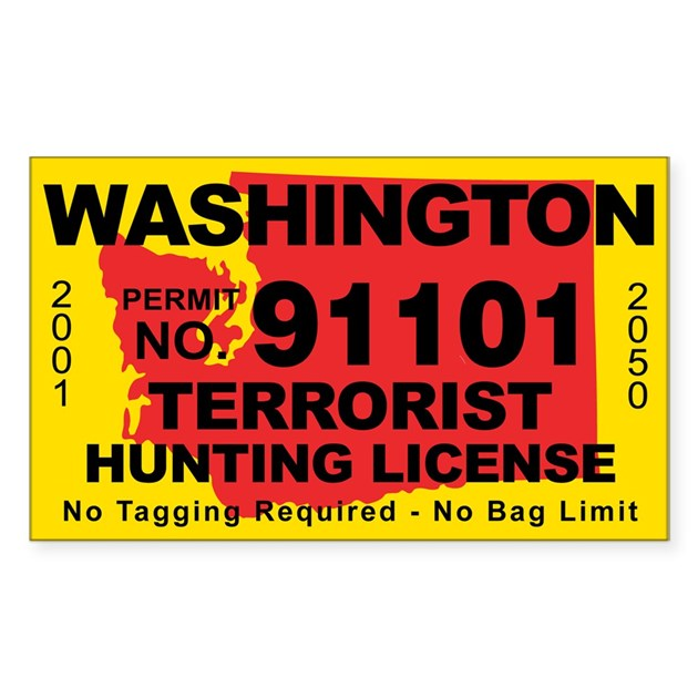 Washington terrorist hunting license decal by cafestickers for Fishing license wa