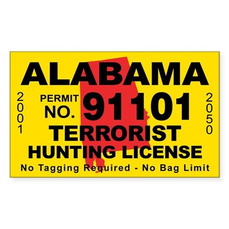 Alabama terrorist hunting license decal by cafestickers for Alabama non resident fishing license