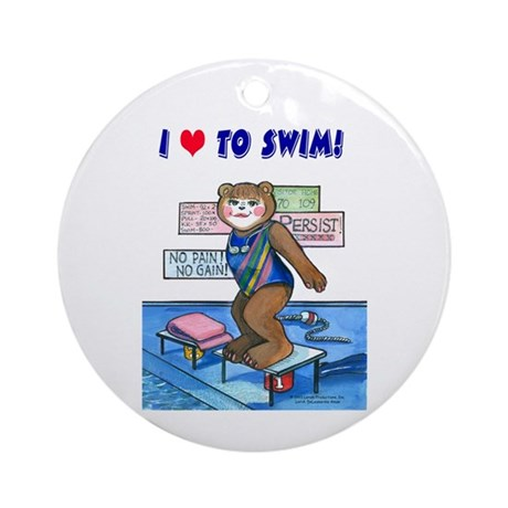 Female Swimmer Ornament (Round)