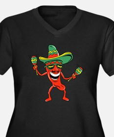 Hot Mexican Pepper Women's Plus Size V-Neck Dark T