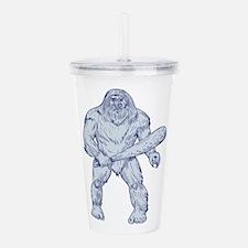 Bigfoot Holding Club Standing Drawing Acrylic Doub