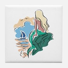 Pretty Mermaid Scene Tile Coaster