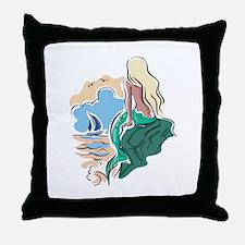 Pretty Mermaid Scene Throw Pillow