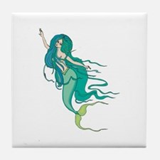 Green Mermaid Tile Coaster