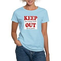 Keep out... pants Women's Pink T-Shirt