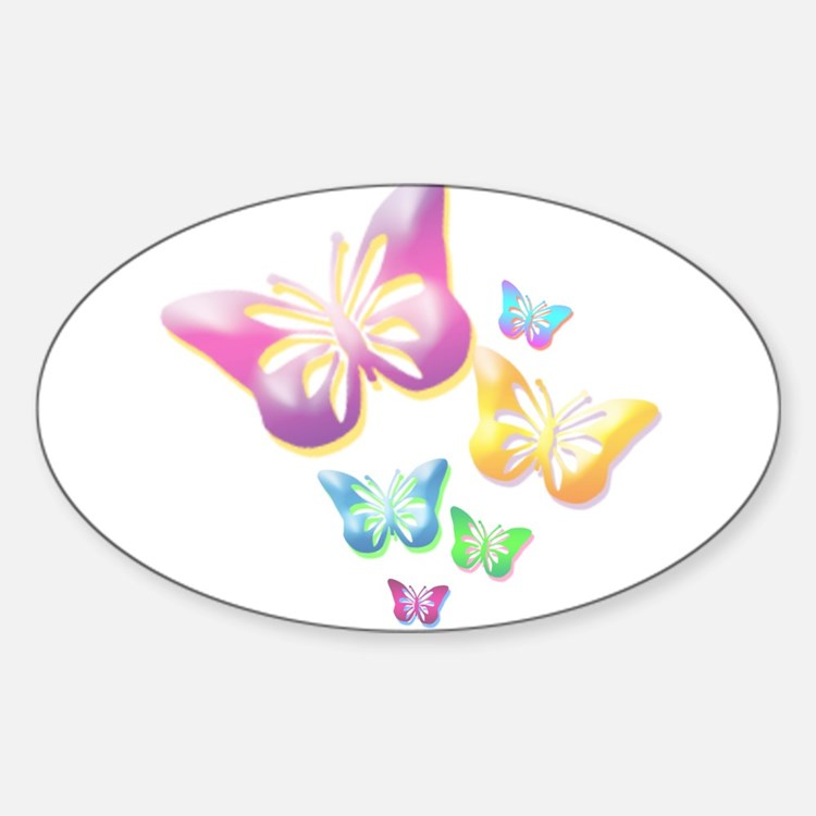 Butterfly Colors Sticker (Oval)