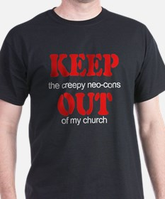 Keep out... church Black T-Shirt