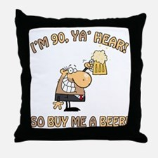 90th Birthday Beer Throw Pillow