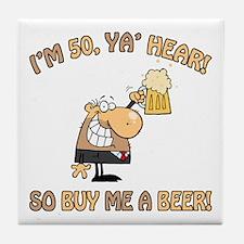 50th Birthday Beer Tile Coaster