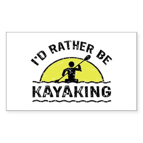 I'd Rather Be Kayaking Sticker (Rectangle)