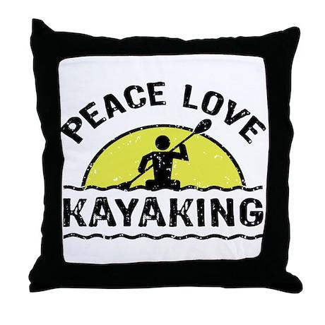 Peace Love Kayaking Throw Pillow
