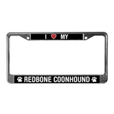 I Love My Redbone Coonhound License Plate Frame