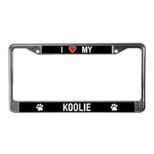 I Love My Koolie License Plate Frame
