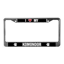 I Love My Komondor License Plate Frame