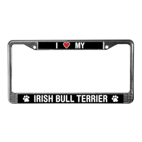 I Love My Irish Bull Terrier License Plate Frame
