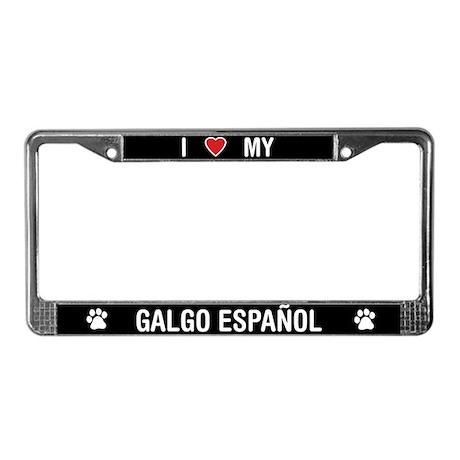 I Love My Galgo Espanol License Plate Frame