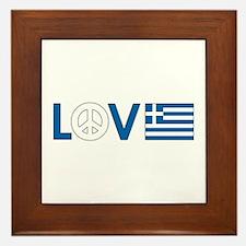 Love Peace Greece Framed Tile