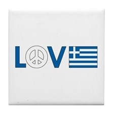 Love Peace Greece Tile Coaster