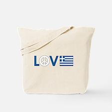 Love Peace Greece Tote Bag