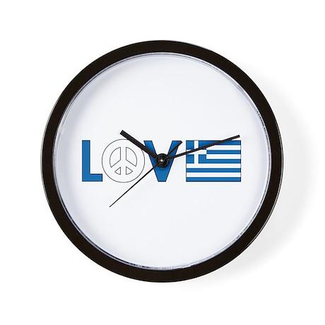 Love Peace Greece Wall Clock