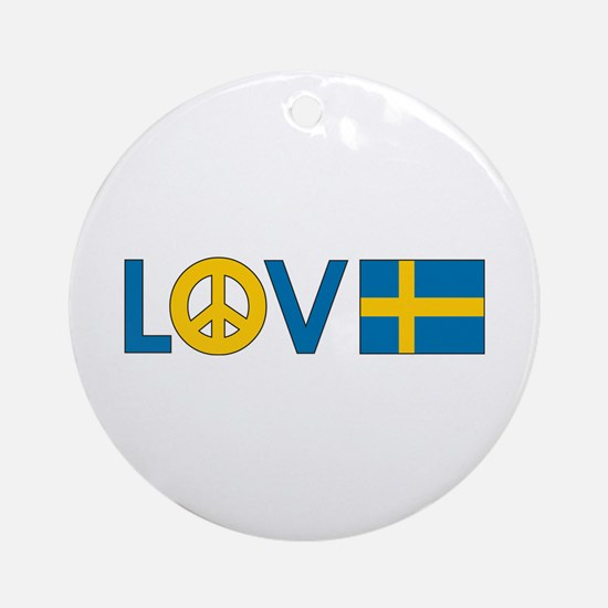 Love Peace Sweden Ornament (Round)